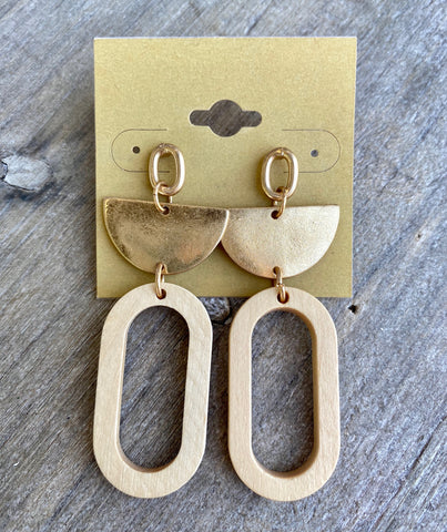 Gold & Wooden Geometric Dangles