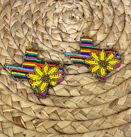 Serape Sunflower Texas Dangle Earrings