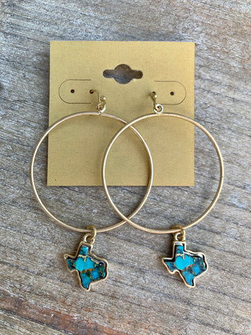Turquoise Marbled Texas Gold Hoops