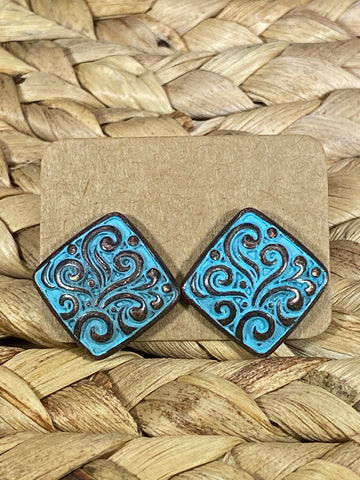 Square Embossed Stud Earrings