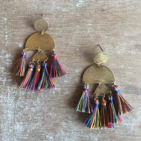 Multicolor Fringe Earrings