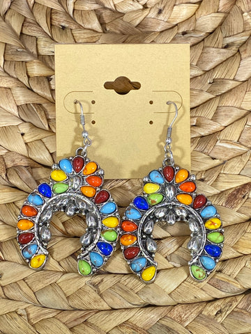 Multicolor Squash Blossom Dangle Earrings