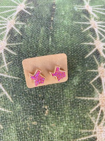 Pink Druzy Texas Earrings