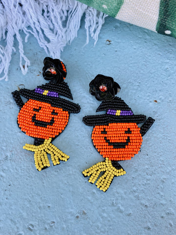 Beaded Jack-O-Lantern Witch Earrings