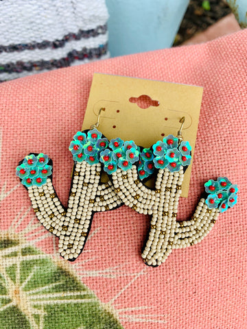 White Beaded Cactus Earrings with Turquoise Flower