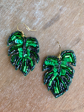Green Beaded Palm Leaf Earrings