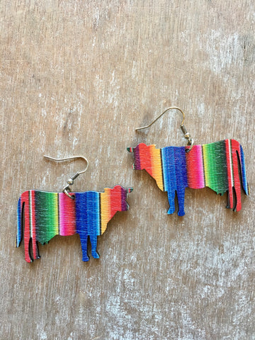 Serape Wooden Cow Earrings