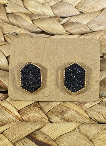 Black Druzy Stud Earrings