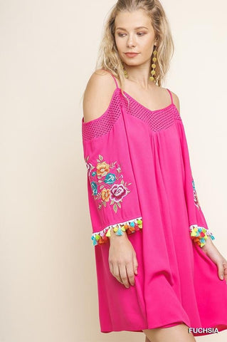 Floral Embroidered Open Shoulder Dress with Tassel Pom Sleeves