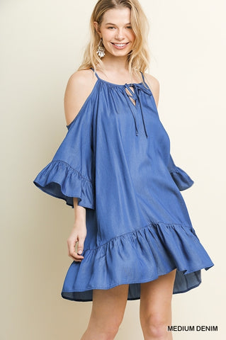Divine Denim Cold Shoulder Dress