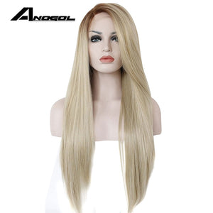 Anogol High Temperature Fiber Glueless Long Straight Ombre Brown to Blonde Synthetic Lace Front Wig for White Women