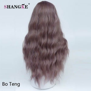 "SHANGKE 26"" Long Mix Purple Womens Wigs with Bangs Heat Resistant Synthetic Kinky Curly Wigs for Women African American"