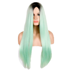 Europe and America Long Straight Hair Green Gradient Middle Parting Fashion Cosplay Synthetic Wig