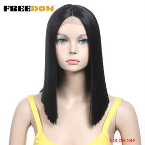 FREEDOM Straight Synthetic Hair Lace Front And T Part Wig 14 Inch Wigs Blue Ombre Wig Colors Choice Cosplay Wig