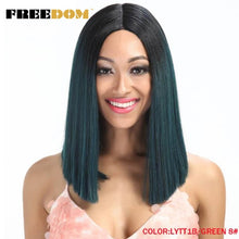 Load image into Gallery viewer, FREEDOM Straight Synthetic Hair Lace Front And T Part Wig 14 Inch Wigs Blue Ombre Wig Colors Choice Cosplay Wig
