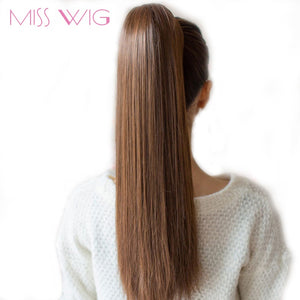 "MISS WIG 12 Colors Available 22"" Long Silky Straight Synthetic Drawstring Ponytail Clip in Extension Style High Temperatur Fiber"