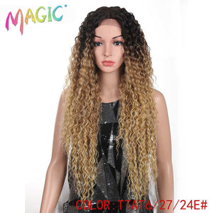 MAGIC Hair Kinky Curly Glueless High Temperature Fiber Hair 32 Inch Natural Blonde  Synthetic Lace Front Wigs