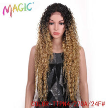 Load image into Gallery viewer, MAGIC Hair Kinky Curly Glueless High Temperature Fiber Hair 32 Inch Natural Blonde  Synthetic Lace Front Wigs