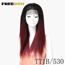 Load image into Gallery viewer, FREEDOM Synthetic Wigs With Baby Hair For  Women 26 inch Heat Resistant Fiber Long Ombre Brown Yaki Straight Lace Front Wig