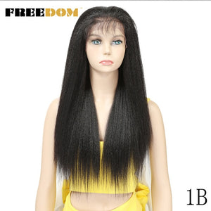 FREEDOM Synthetic Wigs With Baby Hair For  Women 26 inch Heat Resistant Fiber Long Ombre Brown Yaki Straight Lace Front Wig