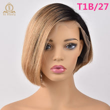 Load image into Gallery viewer, 13x6 Lace Front Human Hair Short Bob Wigs Pixie Cut Ombre 1B 27 Blonde Black Straight For Women Brazilian Remy Hair 150% 4 Color