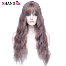 "Load image into Gallery viewer, SHANGKE 26"" Long Mix Purple Womens Wigs with Bangs Heat Resistant Synthetic Kinky Curly Wigs for Women African American"