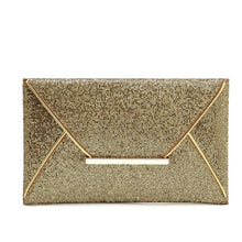Load image into Gallery viewer, Leather- Sequins Envelope Bag Evening Clutch