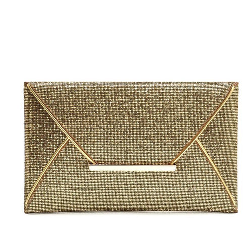 Leather- Sequins Envelope Bag Evening Clutch
