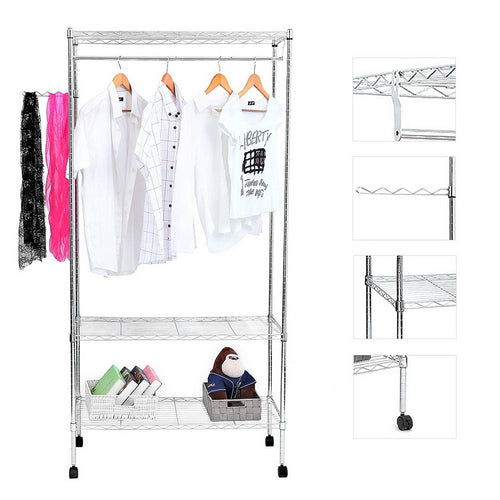 Garment Rack Hanger with Wheels & Rotating Wave Hooks