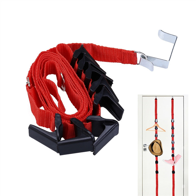 Over the Door Nylon Adjustable Clothes And Hat Rack