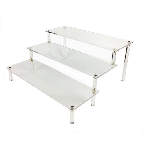 Clear Acrylic Detachable 3 Tier Display Rack-Cosmetic-Wallet-Shoes