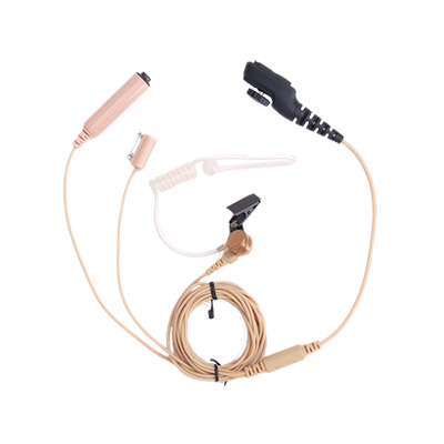 Hytera PD705LT 3-Wire Earpiece with Acoustic Tube, Microphone and PTT (Beige)