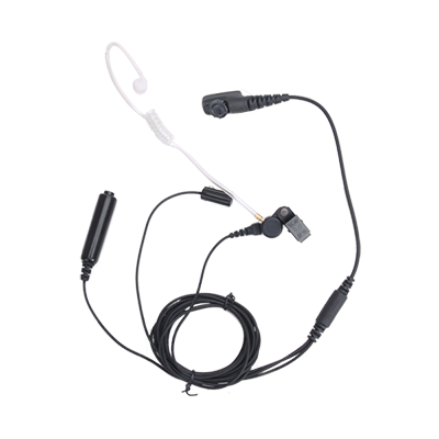 Hytera PD705LT 3-Wire Earpiece with Acoustic Tube, Microphone and PTT (Black)
