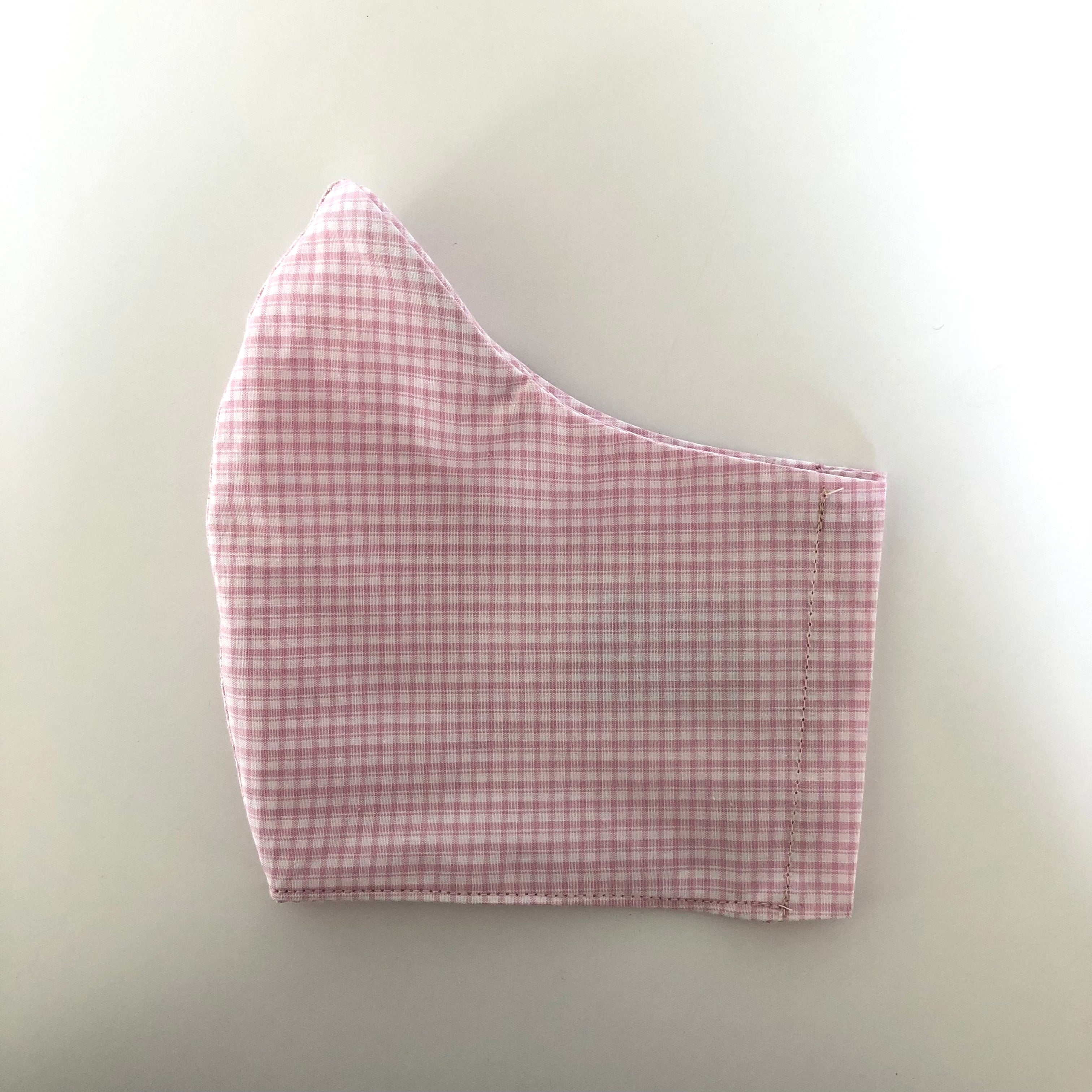 PINK GINGHAM COTTON MASK