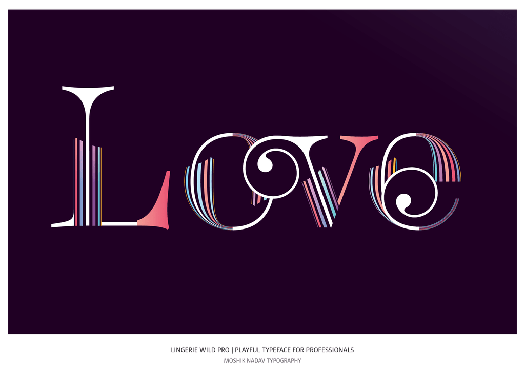 Love made with Lingerie Wild Pro Typeface unique font for fashion and luxury branding