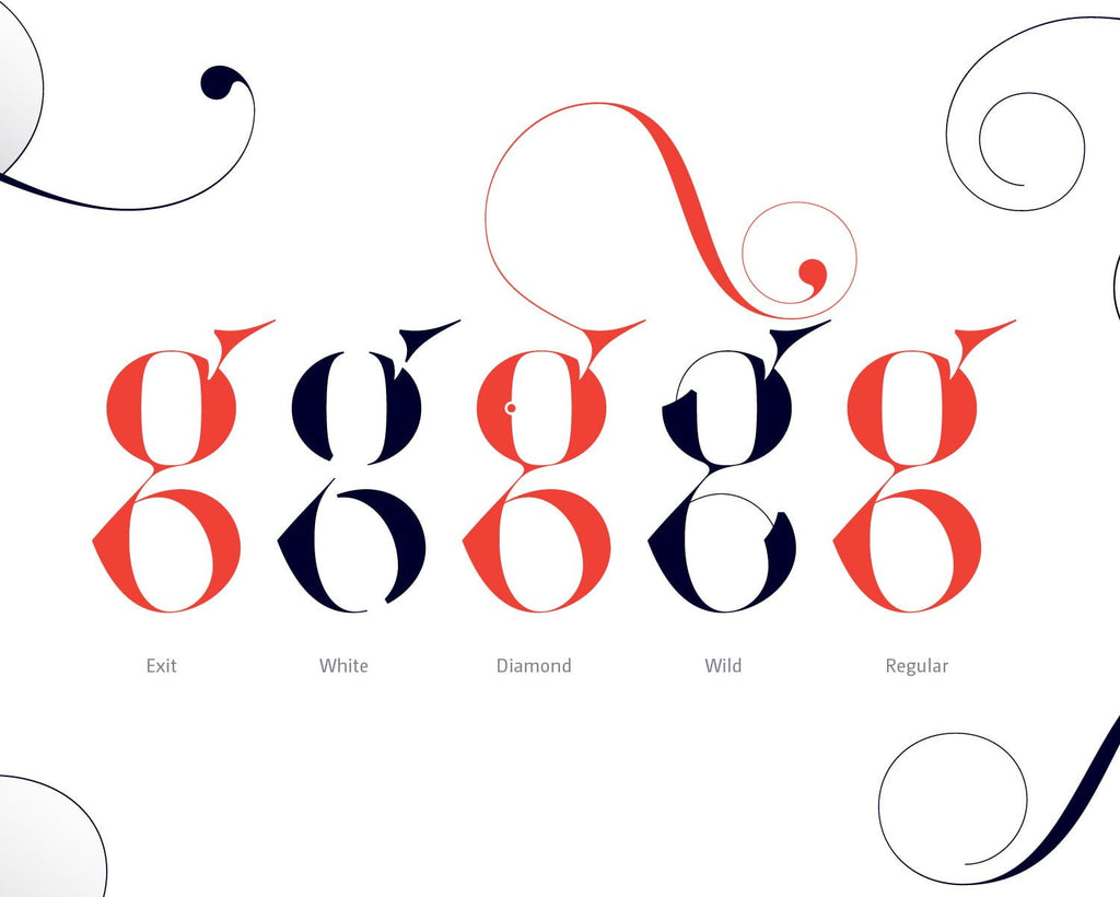 Sexy lowercase g font - Made with the fashion Lingerie Typeface by Moshik Nadav Typography