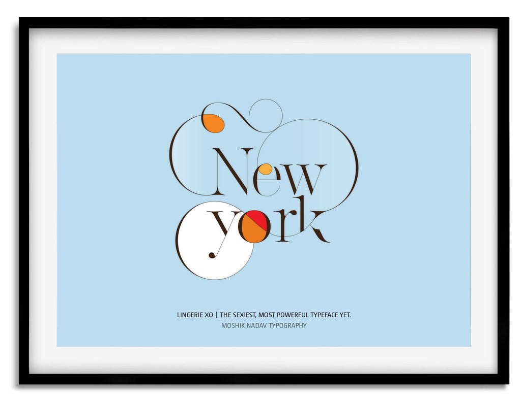 Blue New York Poster - Made by Moshik Nadav Typography