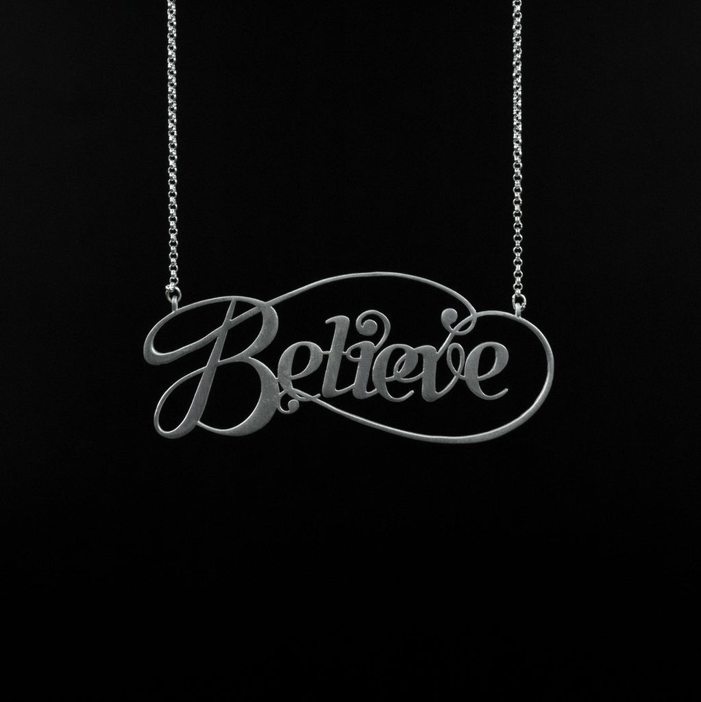 Silver Believe box by Moshik Nadav Typography