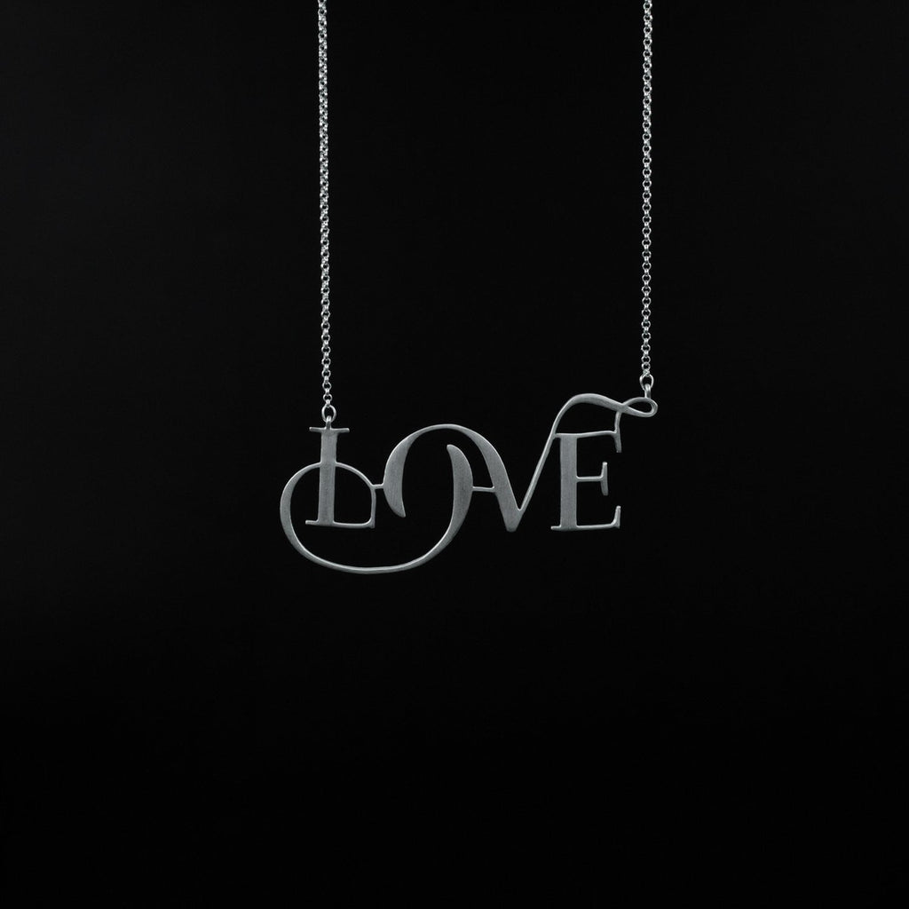 Beautiful Silver Love Necklace Designed by Moshik Nadav Typography with Paris Pro Fashion Typeface