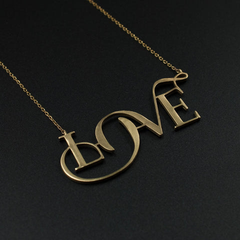 Beautiful Gold Love Necklace Designed by Moshik Nadav Typography with Paris Pro Fashion Typeface
