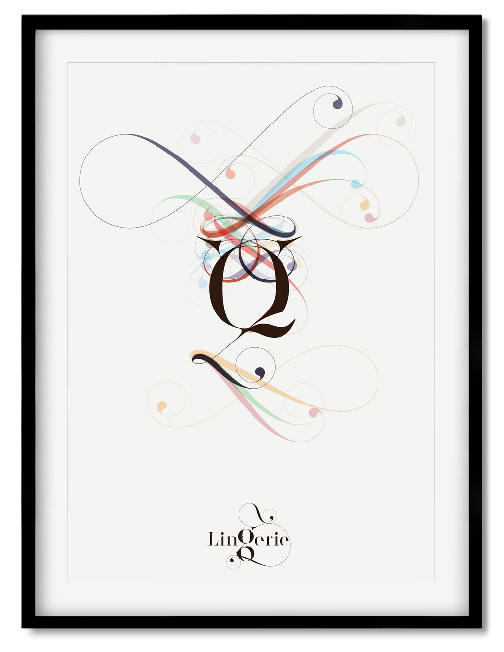 Fancy Q Typographic poster Designed by Moshik Nadav Typography with Lingerie Typeface