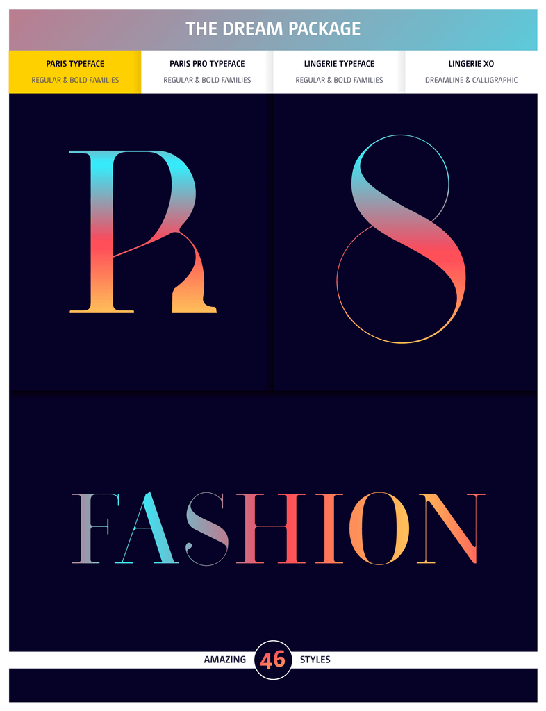 The Dream Fashion Fonts Package by Moshik Nadav Typography
