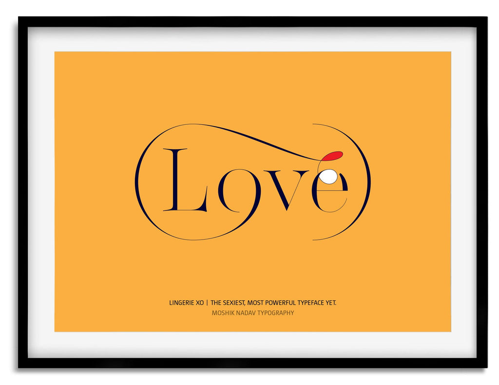 Lingerie XO Love Typography poster designed by Moshik Nadav Typography