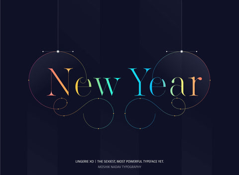 Happy New Year Font Poster - Moshik Nadav Typography