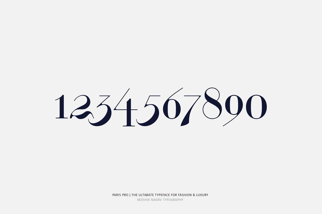Paris Pro Typeface - unique font for fashion and luxury designed by Moshik Nadav Typography