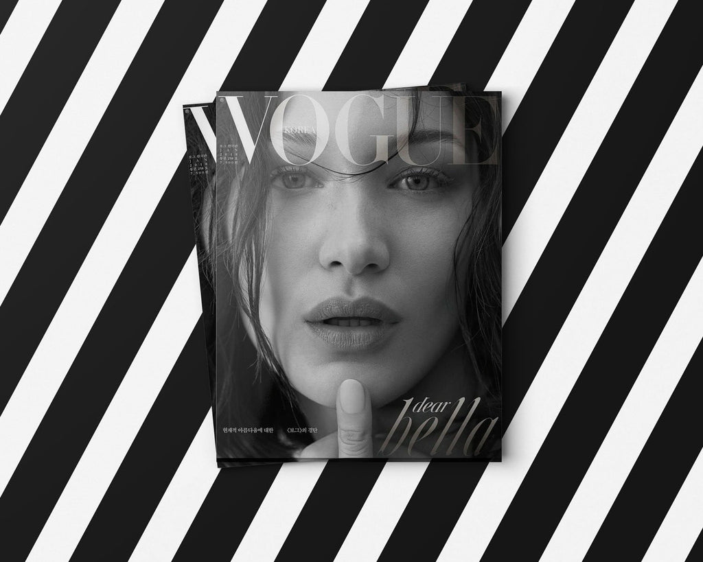 Vogue magazine is using Lingerie Typeface new to Bella Hadid