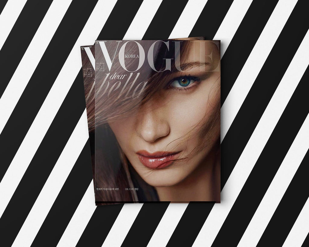 Bella Hadid next to Lingerie Typeface Regular Italic in use by Vogue Korea