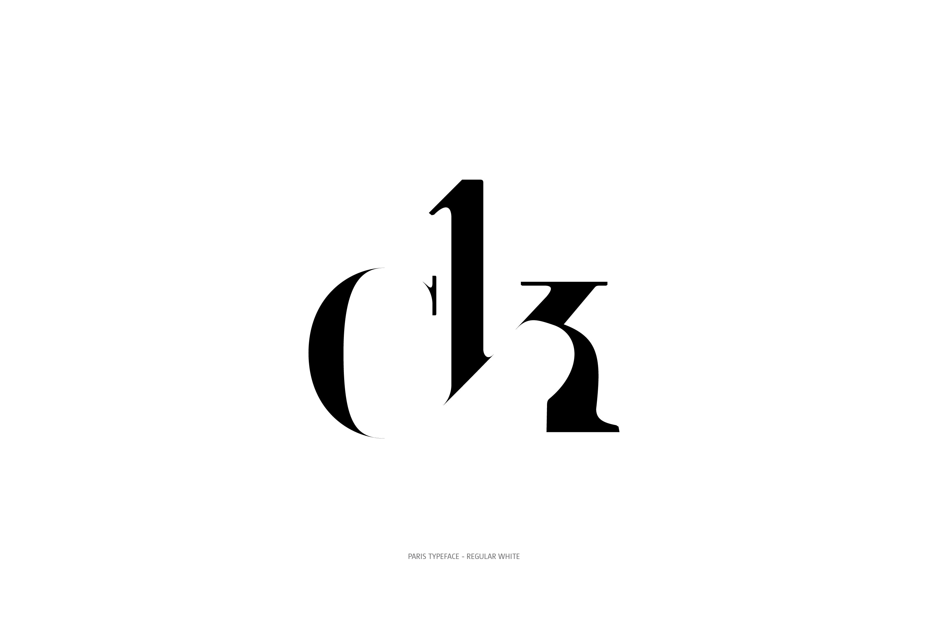 Paris Typeface Regular White ck ligature