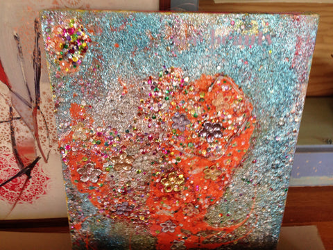 See beauty in what you do, sequins heart 24 x 30