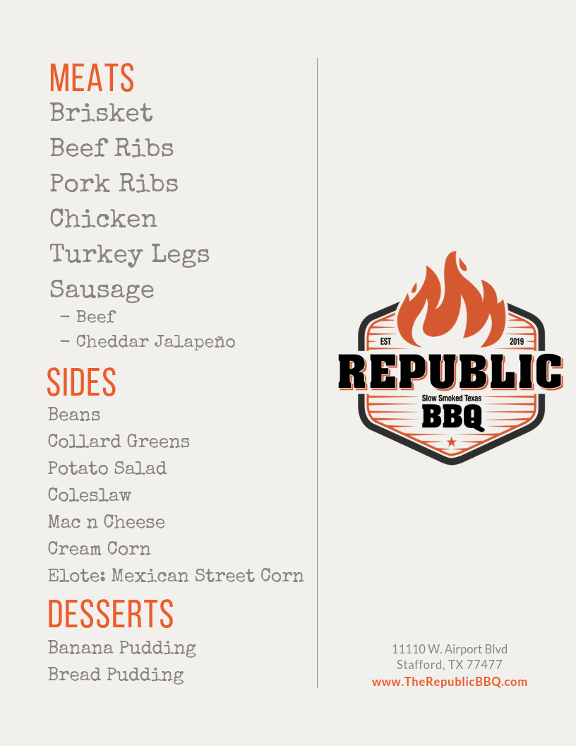 Republic BBQ Menu
